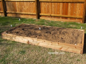 Finished raised bed for our new vegetable garden.