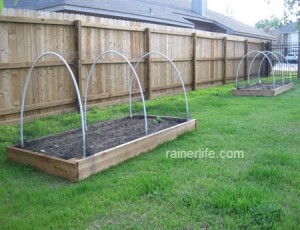 Raised beds with PVC hoops and wildlife netting.