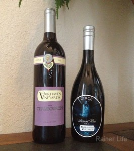 Wines we bought at Fairhaven Vineyard.