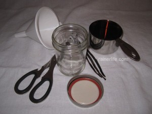 Supplies for homemade vanilla extracts.