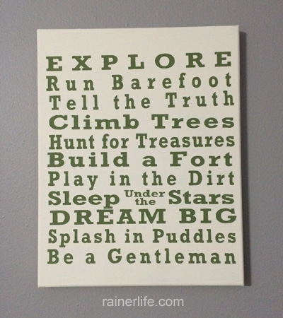 Finished DIY boy's rules wall art | rainerlife.com