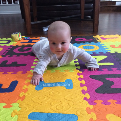 Gavin on his foam tiles | rainerlife.com