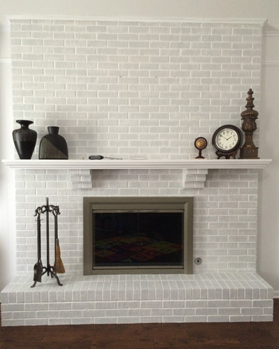 Living Room Fireplace Painted Brick Finished| rainerlife.com