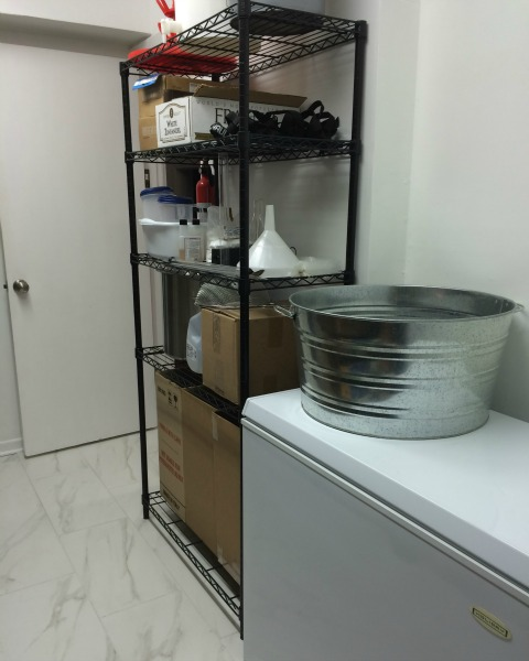Walk-in pantry storage area for homebrewing supplies| rainerlife.com
