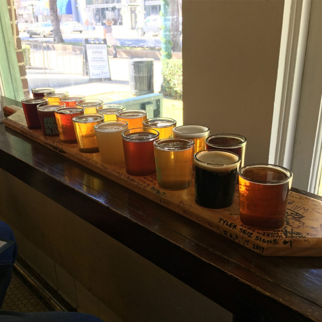 Beer Bath - tasters at Superior Bathhouse Brewery {Hot Springs, AR} | rainerlife.com