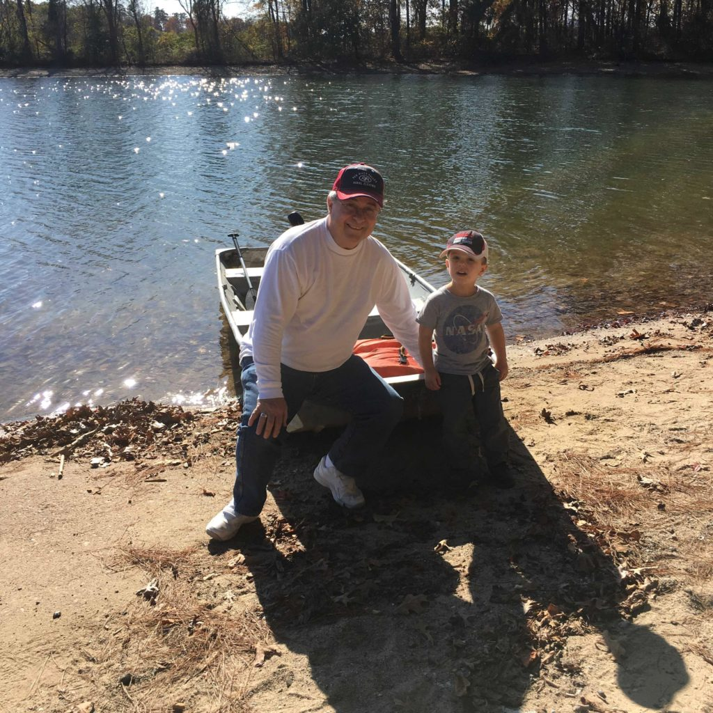 Gavin and Grandpa after boat ride | rainerlife.com