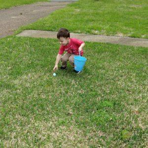 Gavin hunting Easter eggs | rainerlife.com