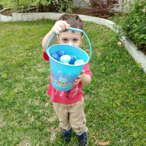 Gavin showing his Easter eggs | rainerlife.com
